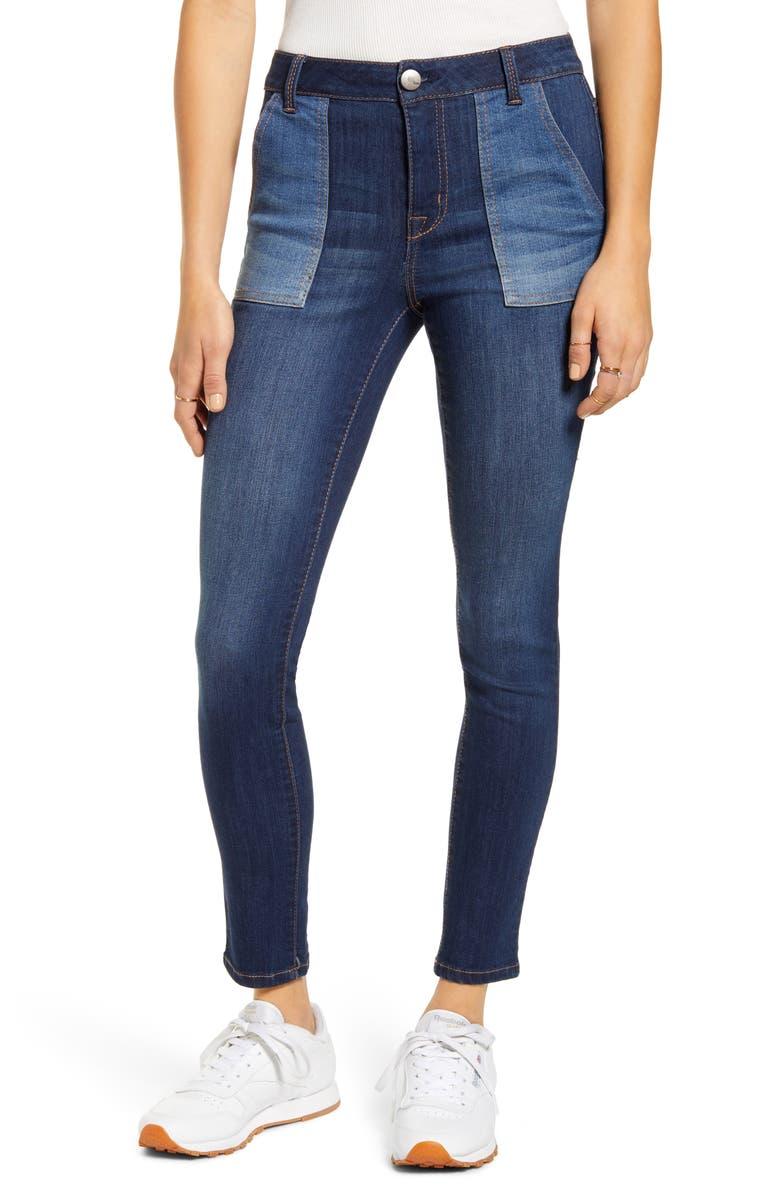 1822 DENIM Colorblock Skinny Jeans, Main, color, FREYA