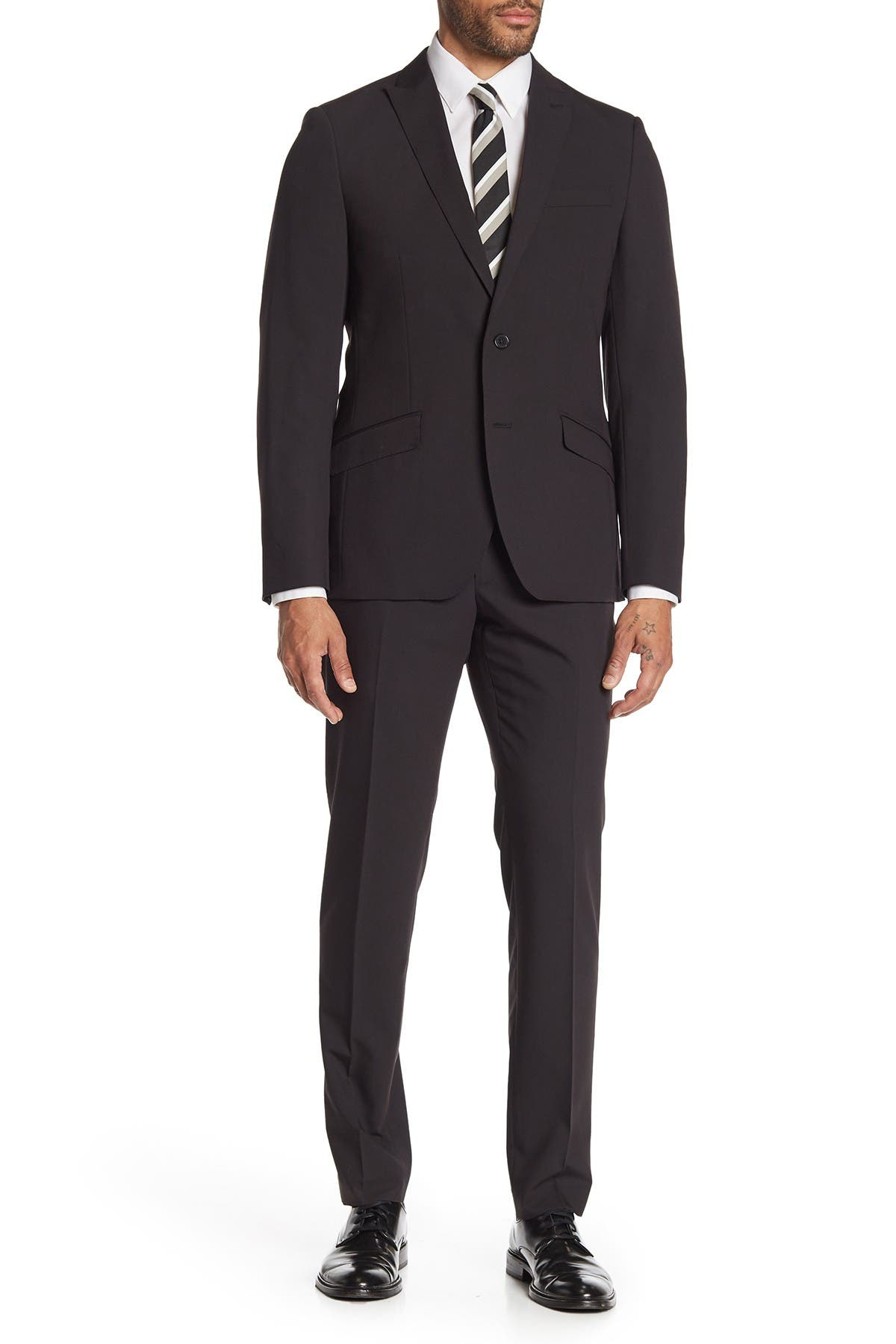 Image of SAVILE ROW CO Brixton Black Solid Two Button Peak Lapel Skinny Fit Suit