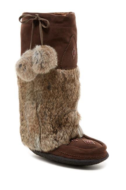 Image of Manitobah Mukluks Genuine Rabbit Fur & Genuine Sheepskin Lined Classic Tall Suede Mukluk Crepe