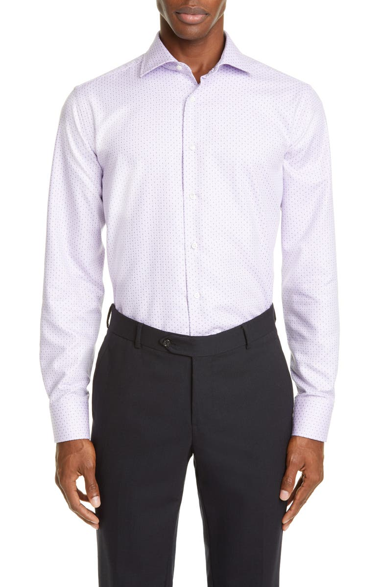CANALI Regular Fit Dot Dress Shirt, Main, color, PURPLE