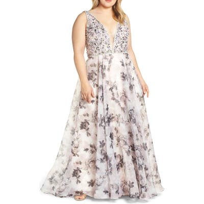Plus Size MAC Duggal Floral Print Illusion V-Neck Evening Dress, Pink