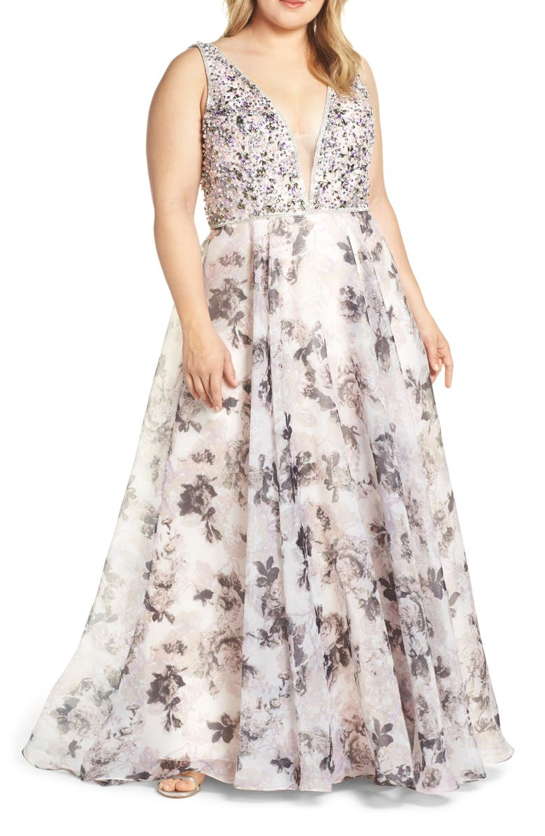 Mac Duggal Floral Print Illusion V-Neck Evening Dress (Plus ...