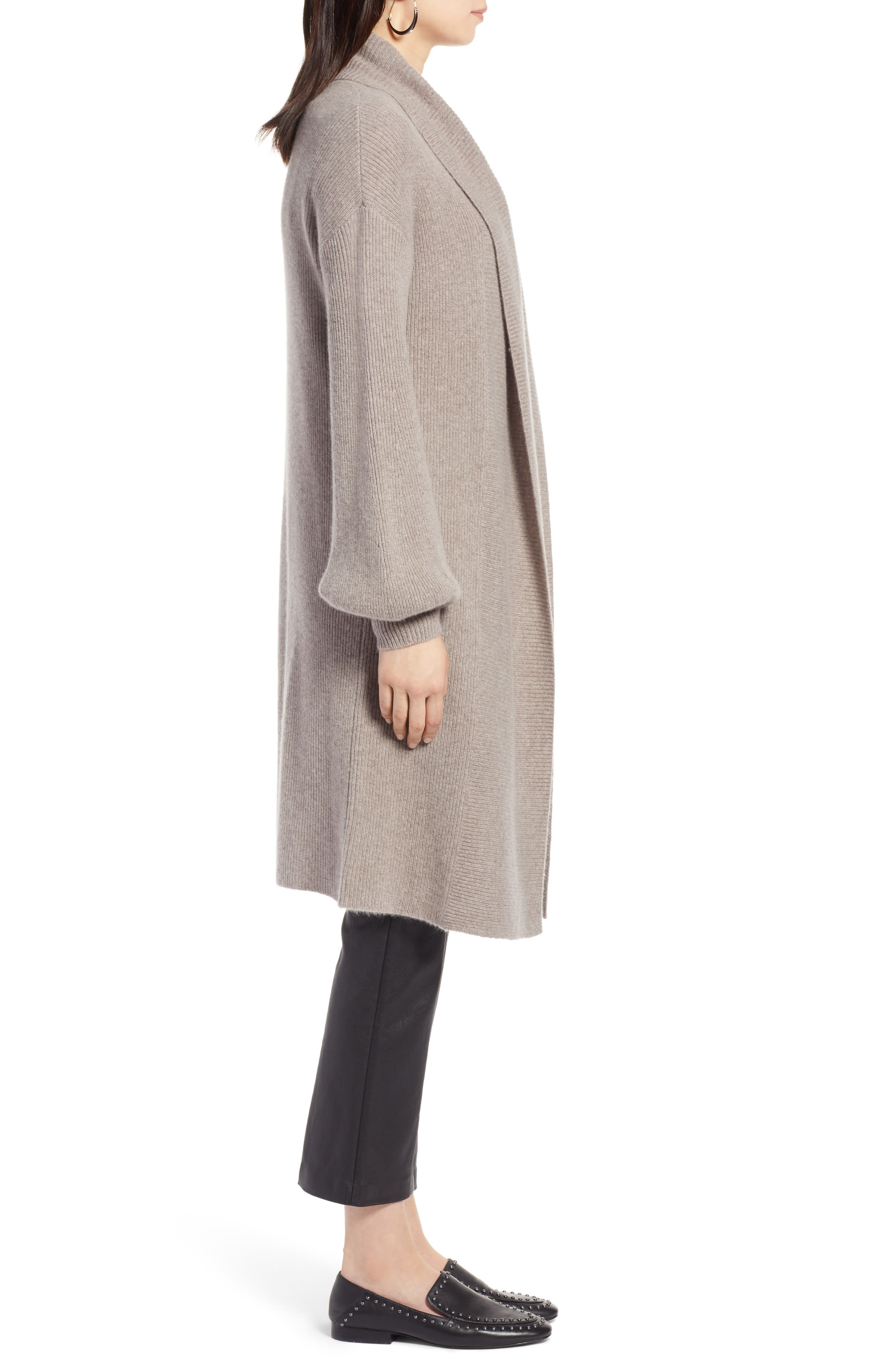 ,                             Blouson Sleeve Long Cashmere Cardigan,                             Alternate thumbnail 19, color,                             236