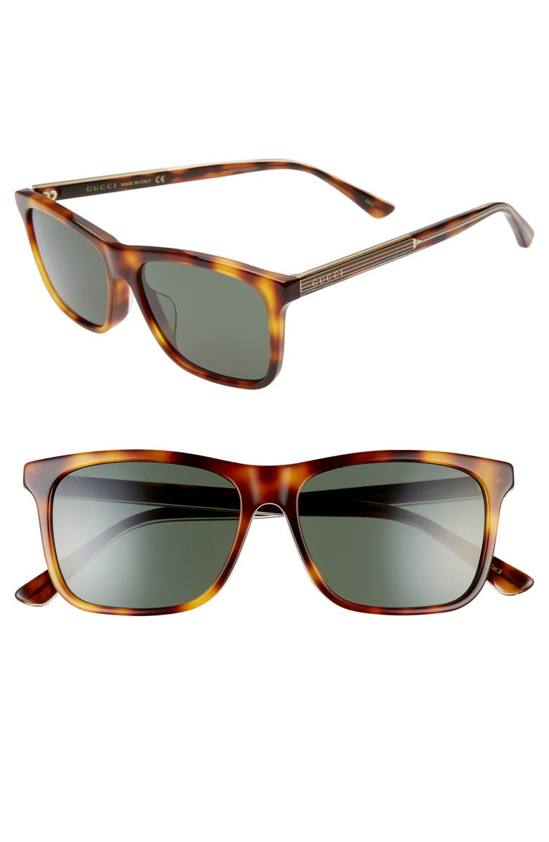 GUCCI 56mm Sunglasses, Main, color, SHINY MEDIUM HAVANA