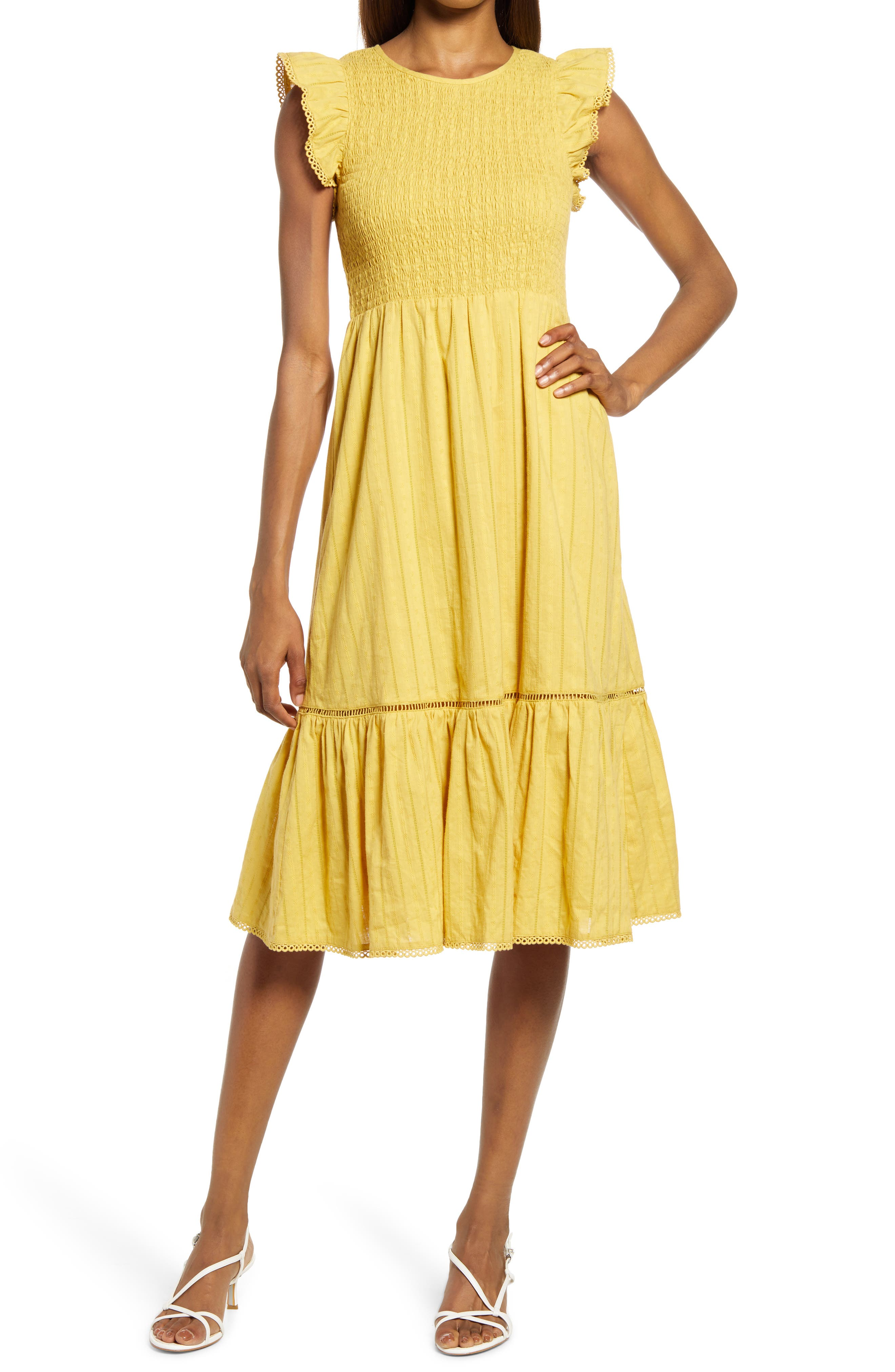 Women's Lost + Wander Blossom & Bloom Flounce Sleeve Cotton Dress