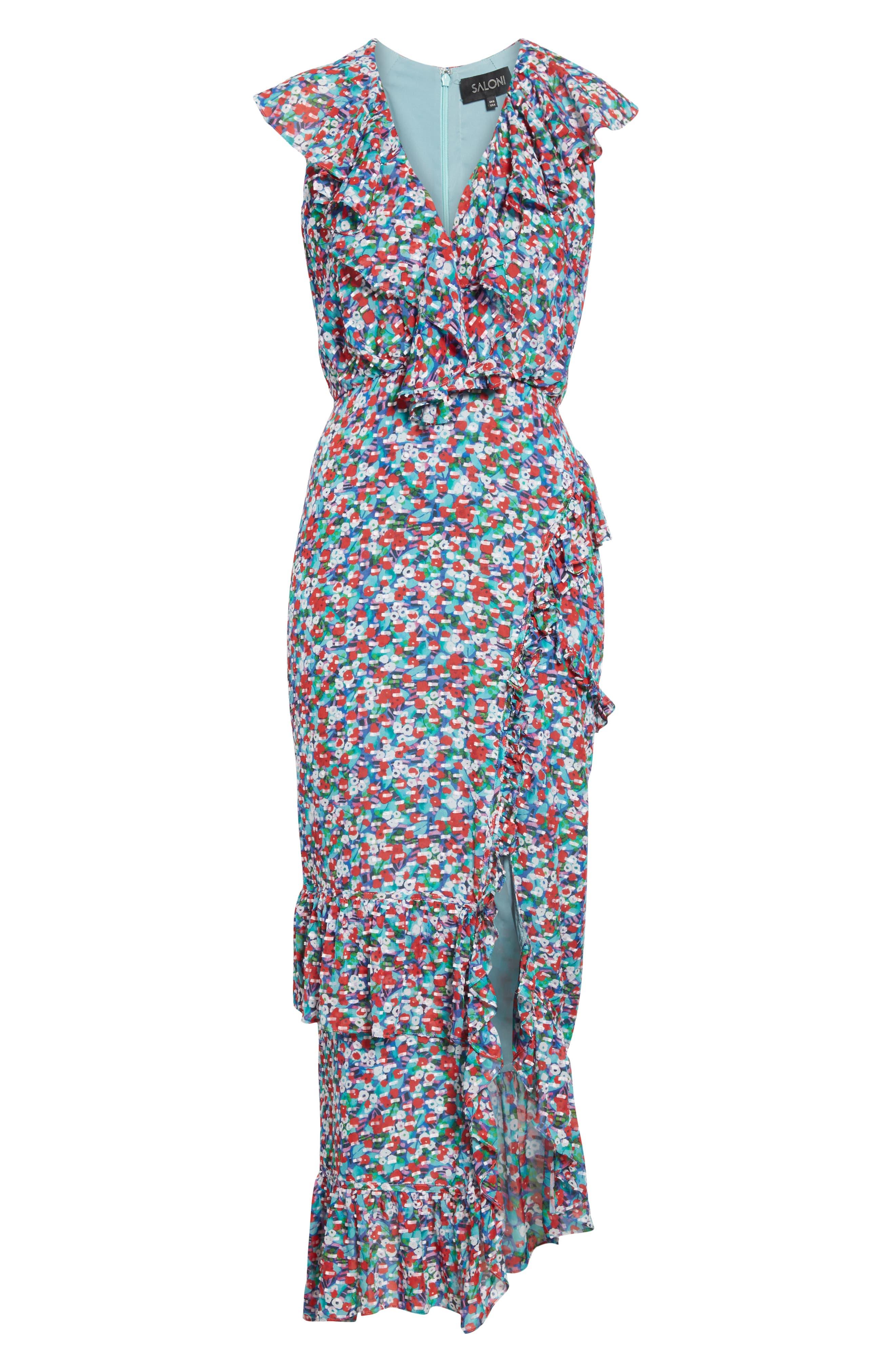 ,                             Anita Ruffle Trim Silk Burnout Dress,                             Alternate thumbnail 7, color,                             BLUE POPPYFIELD