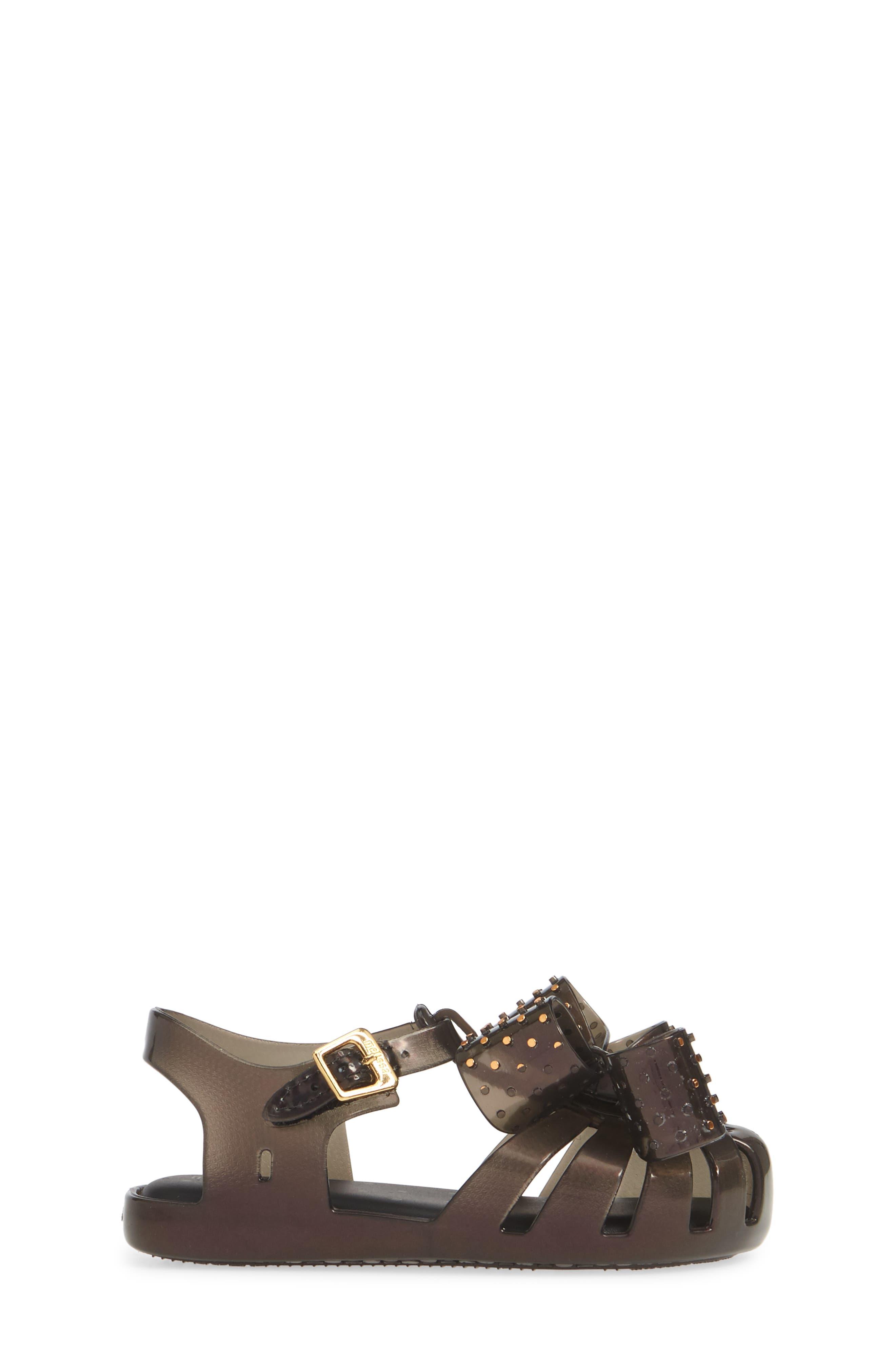 ,                             Aranha XIII Bow T-Strap Sandal,                             Alternate thumbnail 3, color,                             BLACK IRIDESCENT