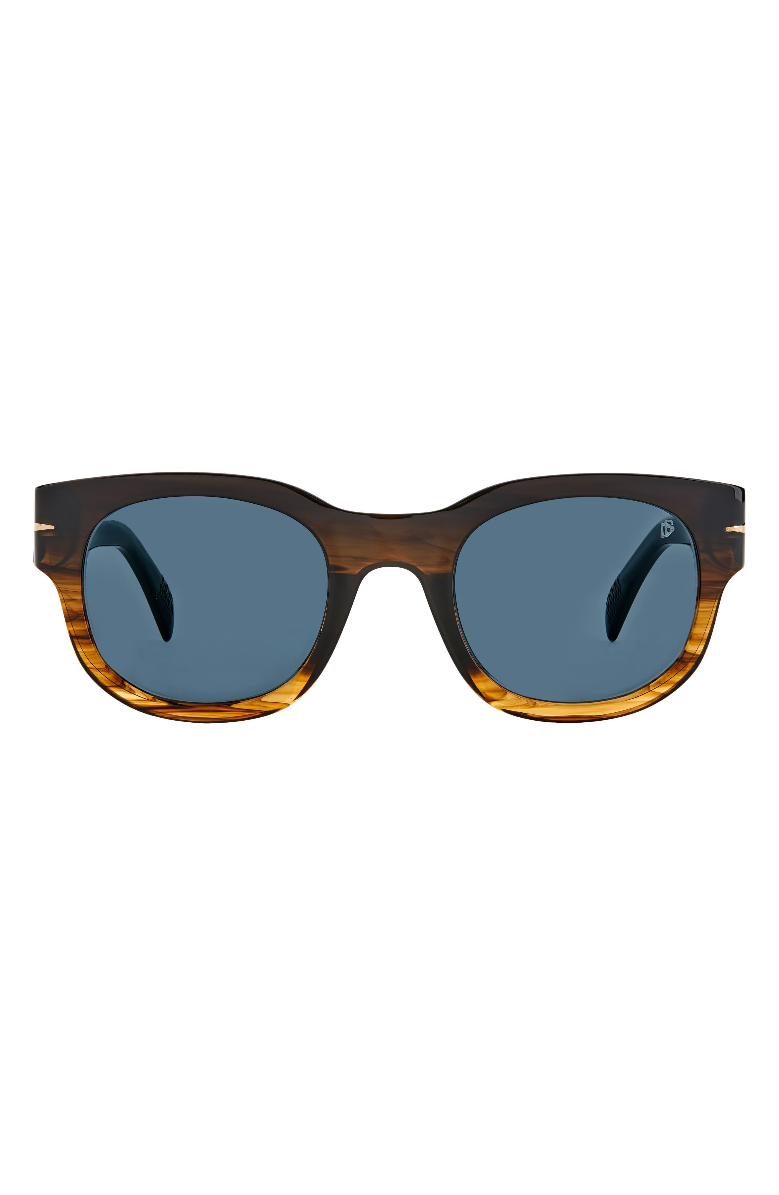 Men's David Beckham 49mm Rectangular Sunglasses