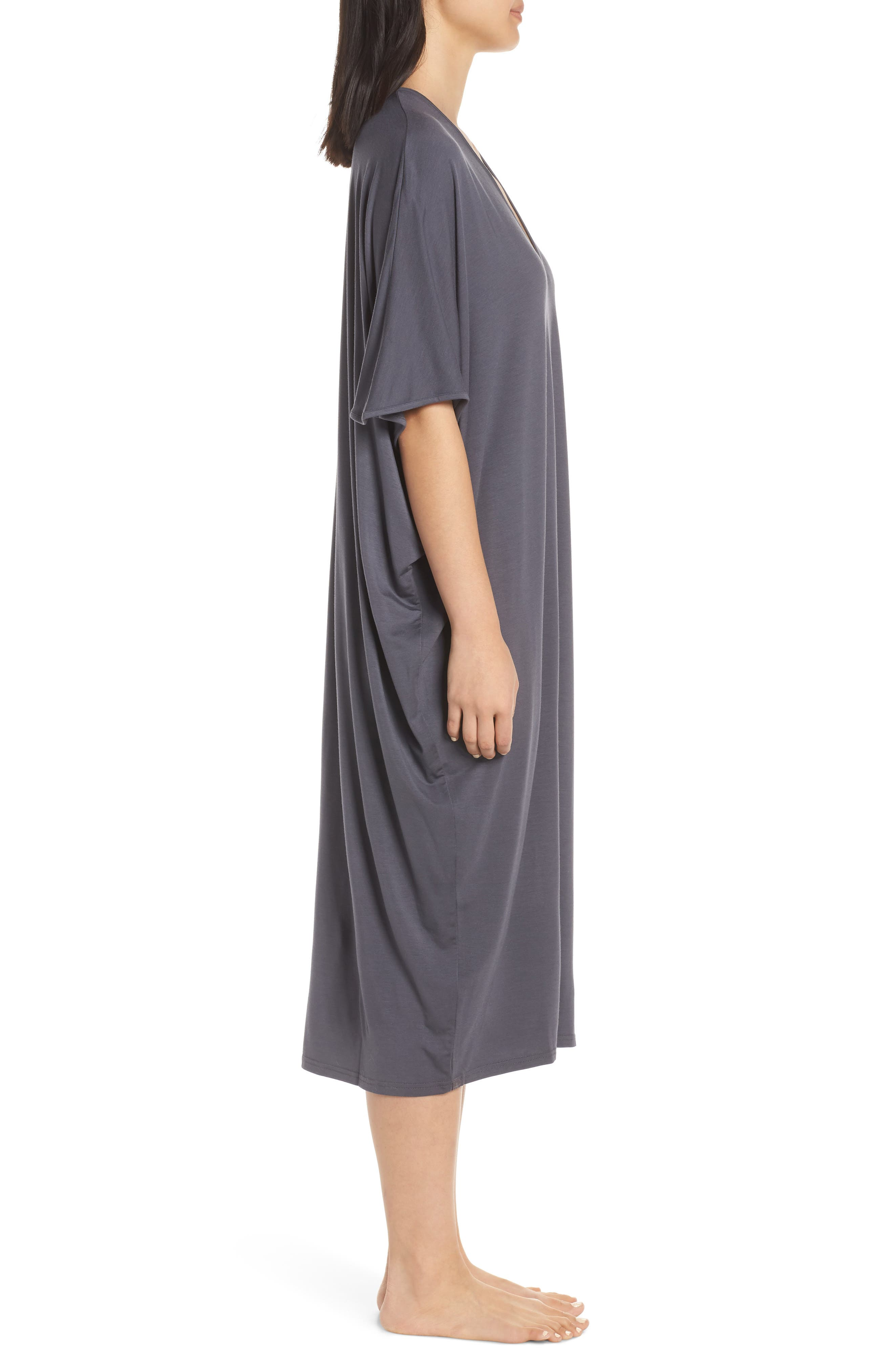 ,                             Luxe Jersey Nightgown,                             Alternate thumbnail 3, color,                             GRAPHITE