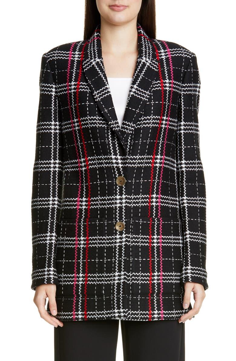 ST. JOHN COLLECTION Bold Plaid Wool Blend Jacket, Main, color, CAVIAR MULTI