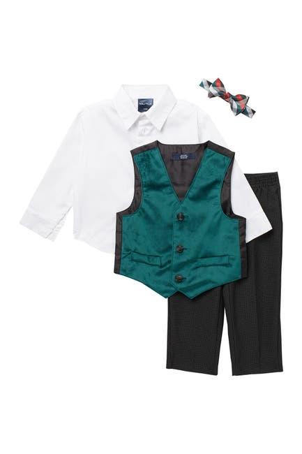 Image of Nautica Holiday Velvet Green Velvet Vest 3-Piece Set
