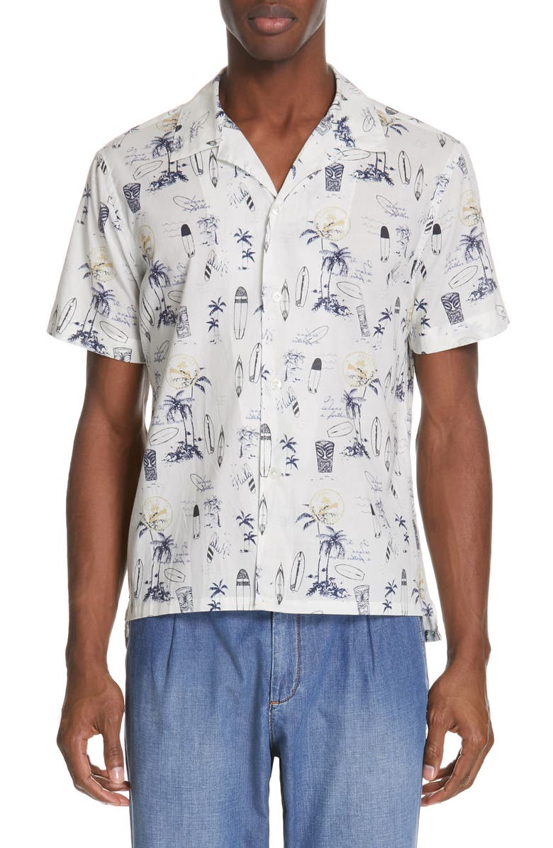 ELEVENTY Slim Fit Cotton Camp Shirt, Main, color, WHITE AND NAVY