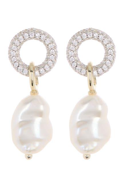 Image of Carolee River Pave CZ Keshi Pearl Drop Earrings