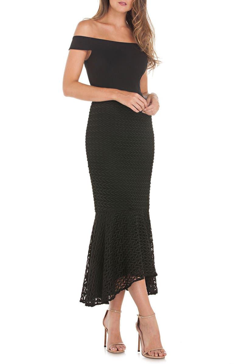 KAY UNGER Crepe & Lace Off the Shoulder Dress, Main, color, BLACK