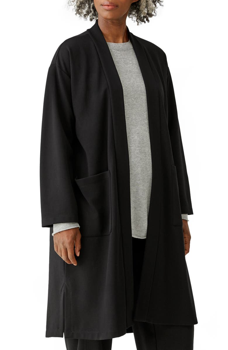 EILEEN FISHER High Collar Belted Jacket, Main, color, BLACK