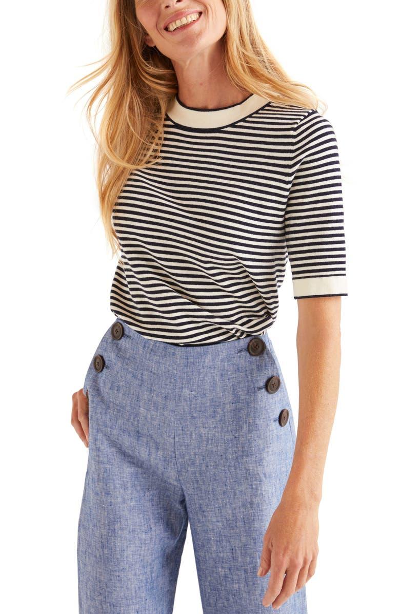 BODEN Abingdon Stripe Short Sleeve Cotton Blend Sweater, Main, color, 414