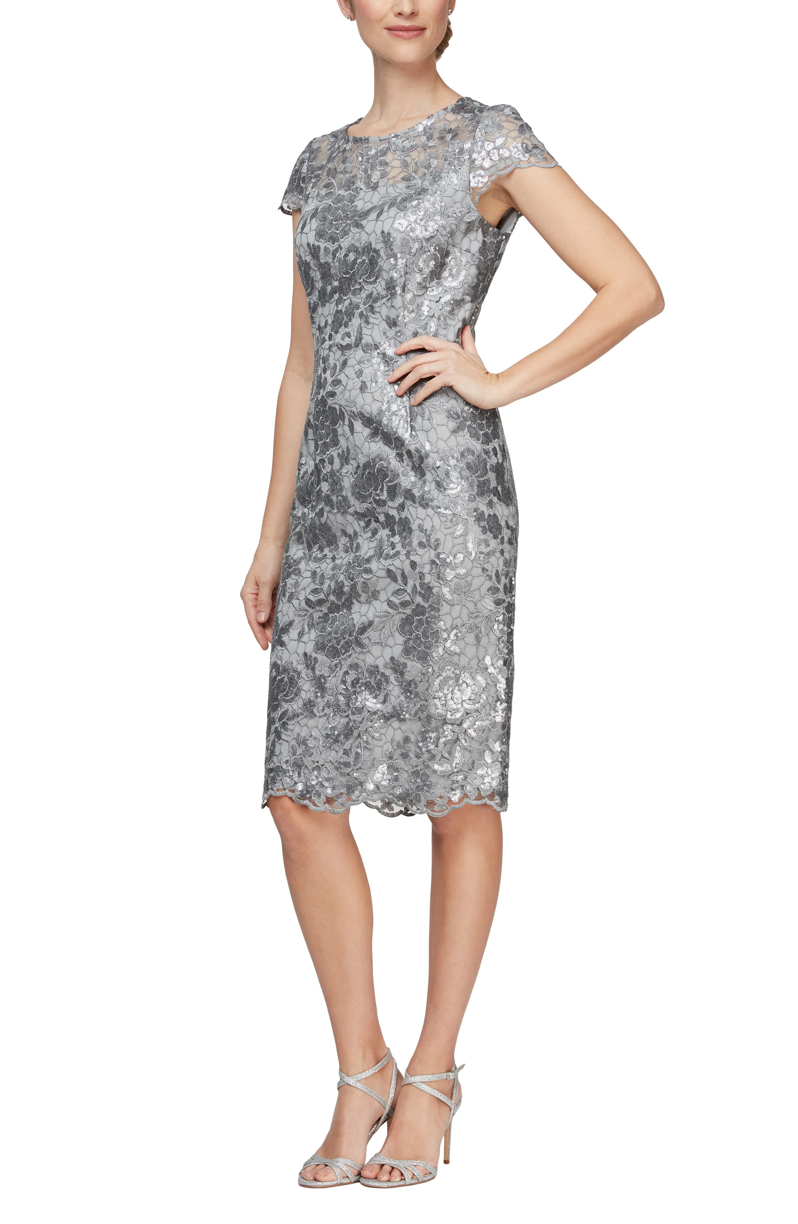 Alex Evenings Cap Sleeve Sequin Embroidered Sheath Dress (Regular & Petite) | Nordstrom