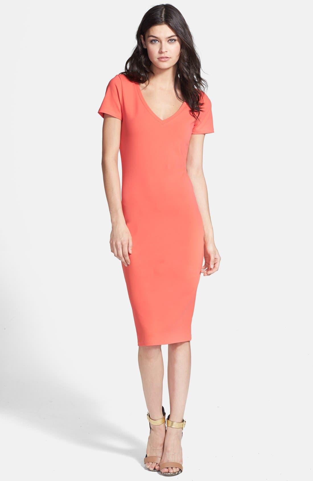 ,                             V-Neck Body-Con Dress,                             Main thumbnail 34, color,                             610