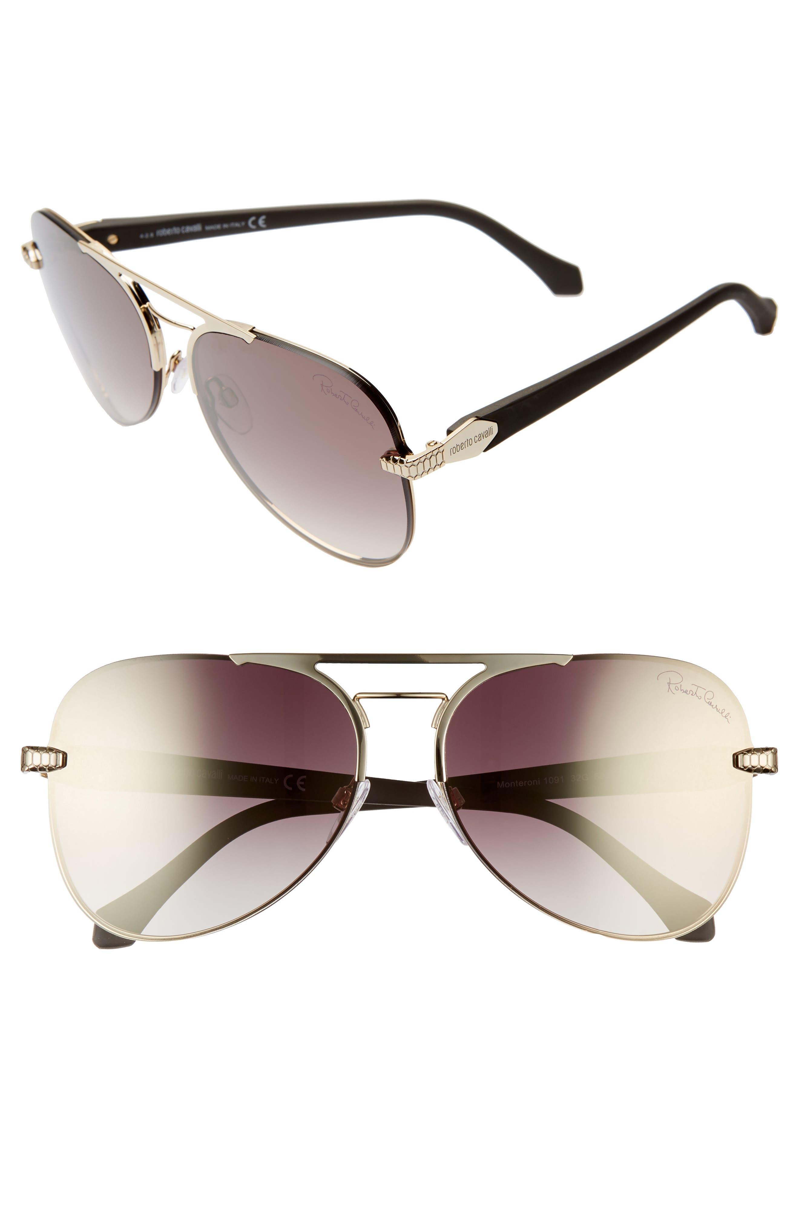 Roberto Cavalli 60Mm Mirrored Aviator Sunglasses - Gold/ Brown Mirror
