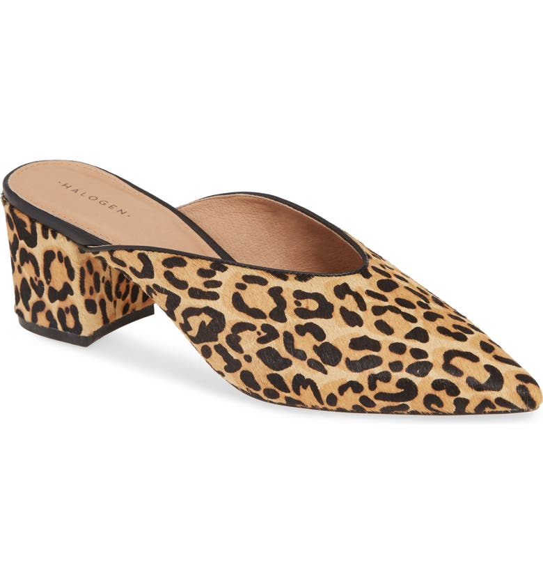 HALOGEN<SUP>®</SUP> Tori Genuine Calf Hair Mule, Main, color, LEOPARD PRINT HAIR CALF