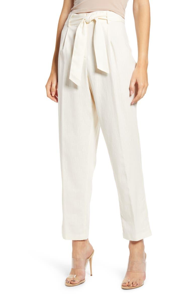 JUNE & HUDSON Tie Front Linen Blend Pants, Main, color, IVORY