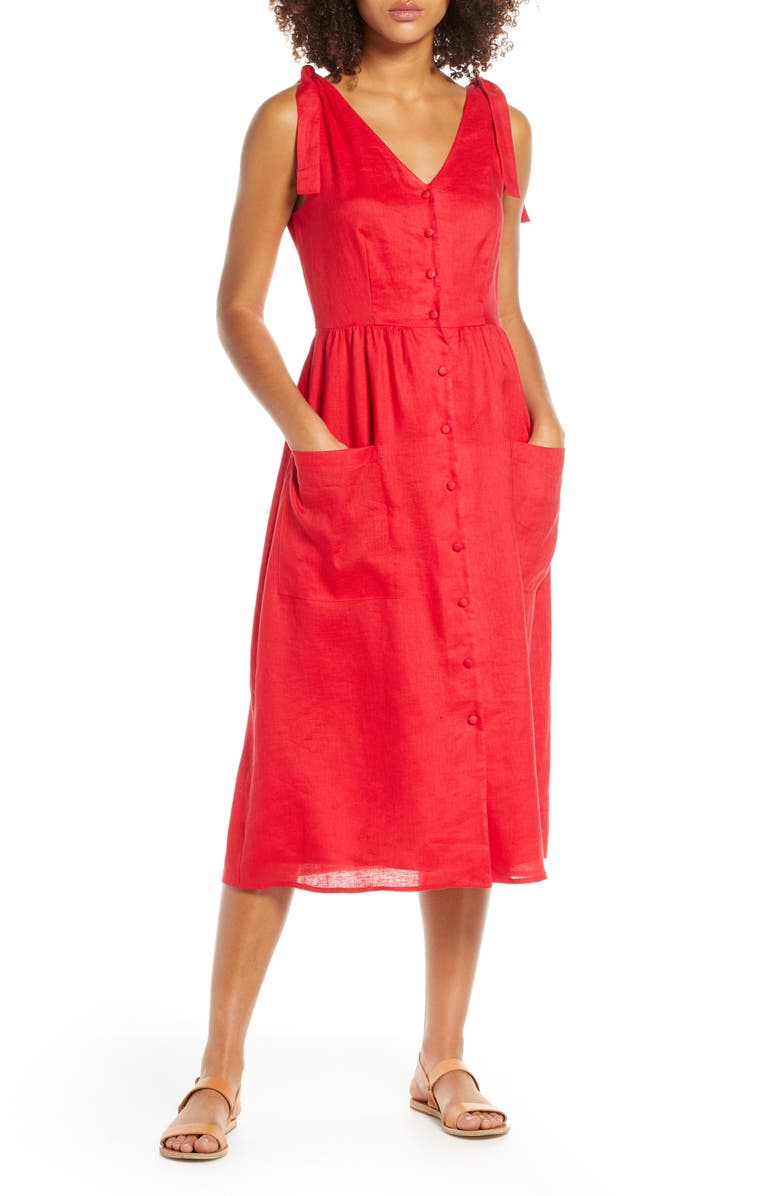 CHARLES HENRY Button Front Linen Midi Dress, Main, color, TOMATO RED