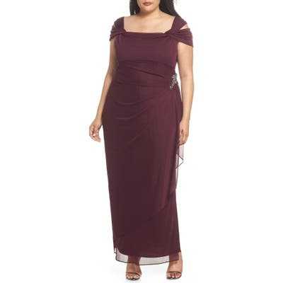 Plus Size Alex Evenings Embellished Cold Shoulder Gown, Red