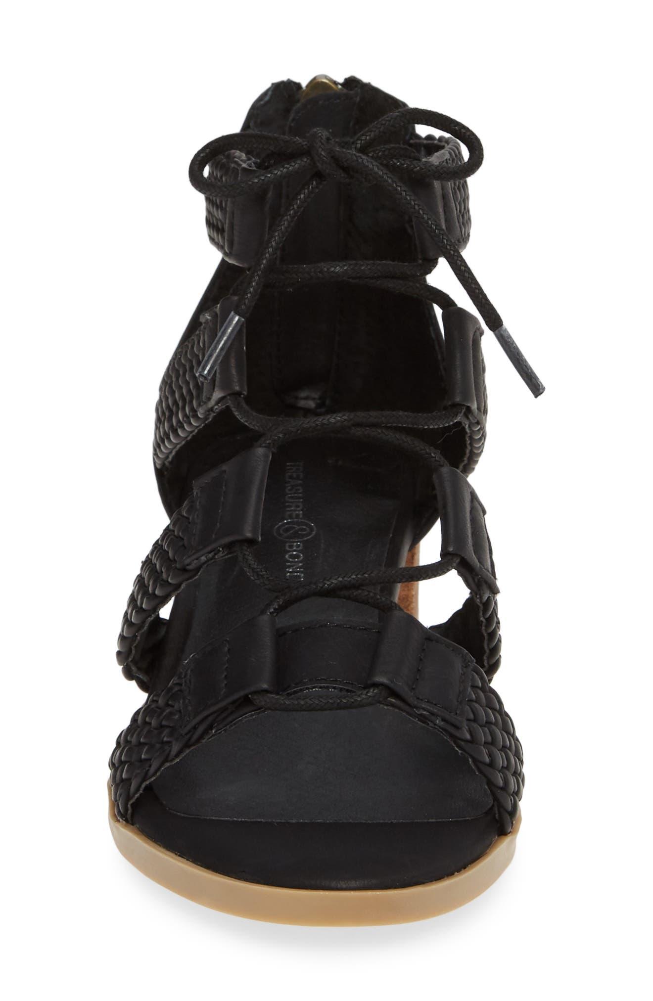 ,                             Layla Block Heel Sandal,                             Alternate thumbnail 4, color,                             BLACK FAUX LEATHER