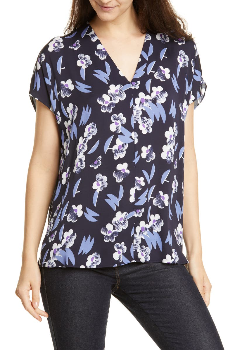 LEWIT Floral Print Blouse, Main, color, NAVY NIGHT TAHLIA FLORAL