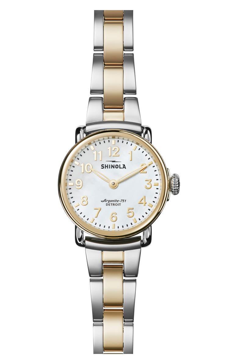 SHINOLA Runwell Bracelet Watch, 28mm, Main, color, GOLD/ SILVER