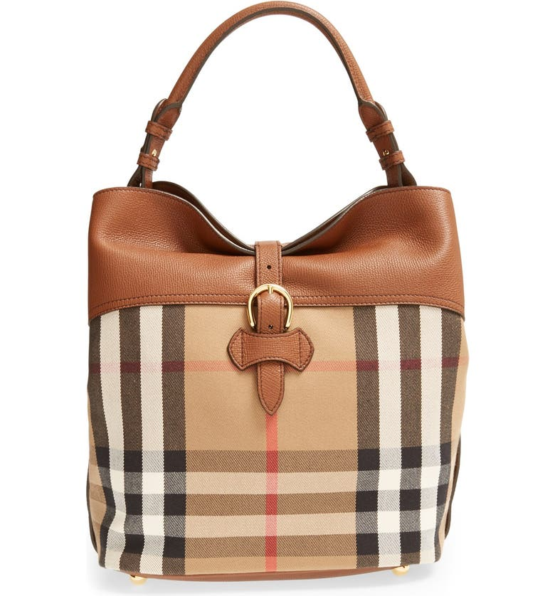f964b669bd Burberry 'Medium Sycamore' Check Derby Leather Hobo | Nordstrom