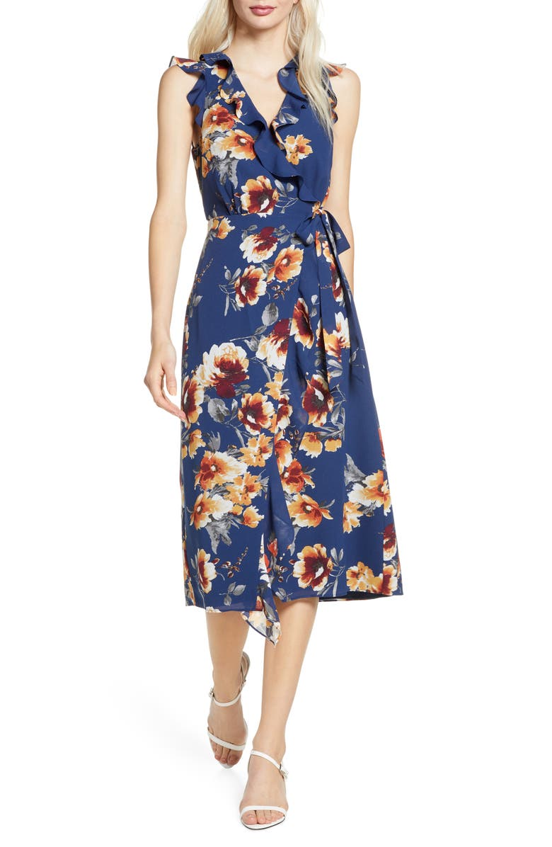 ALI & JAY Rooftop Afternoons Midi Wrap Dress, Main, color, NAVY FLORAL RUST
