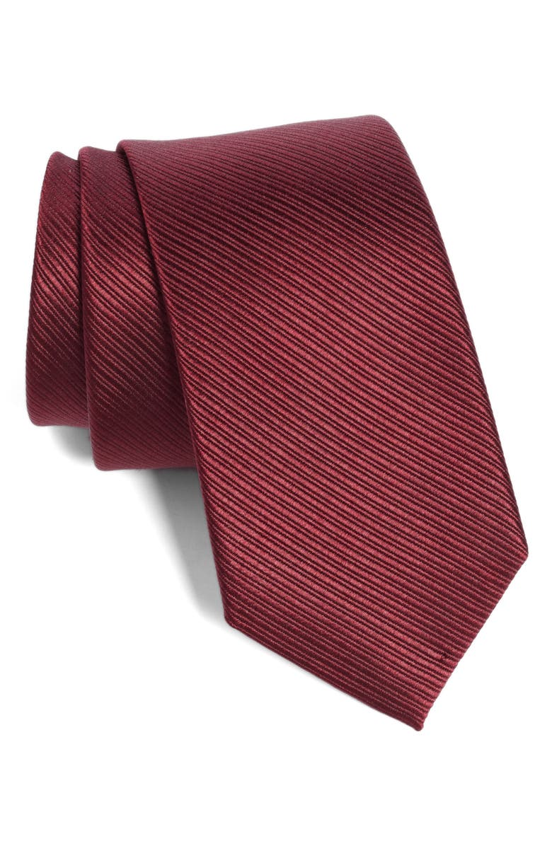 TED BAKER LONDON Solid Silk Tie, Main, color, BURGUNDY