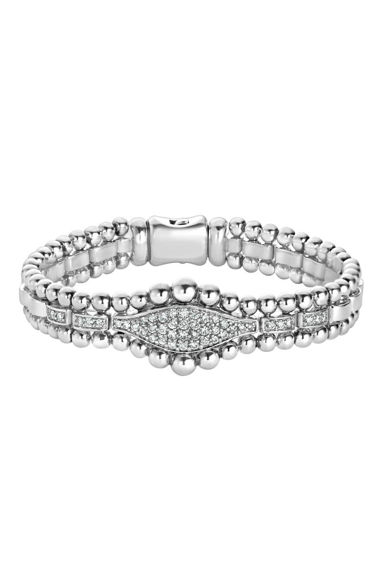 LAGOS Caviar Spark Diamond Marquise Link Bracelet, Main, color, SILVER/ DIAMOND