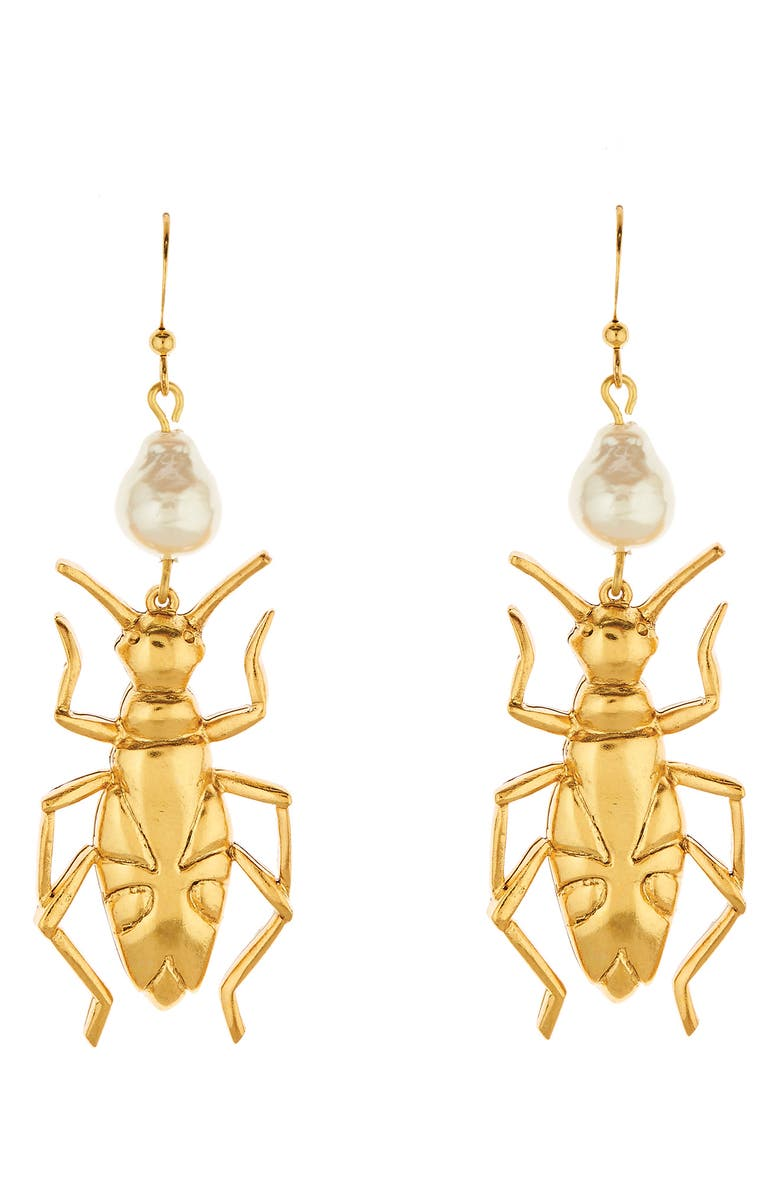 OSCAR DE LA RENTA Bug Drop Earrings, Main, color, GOLD