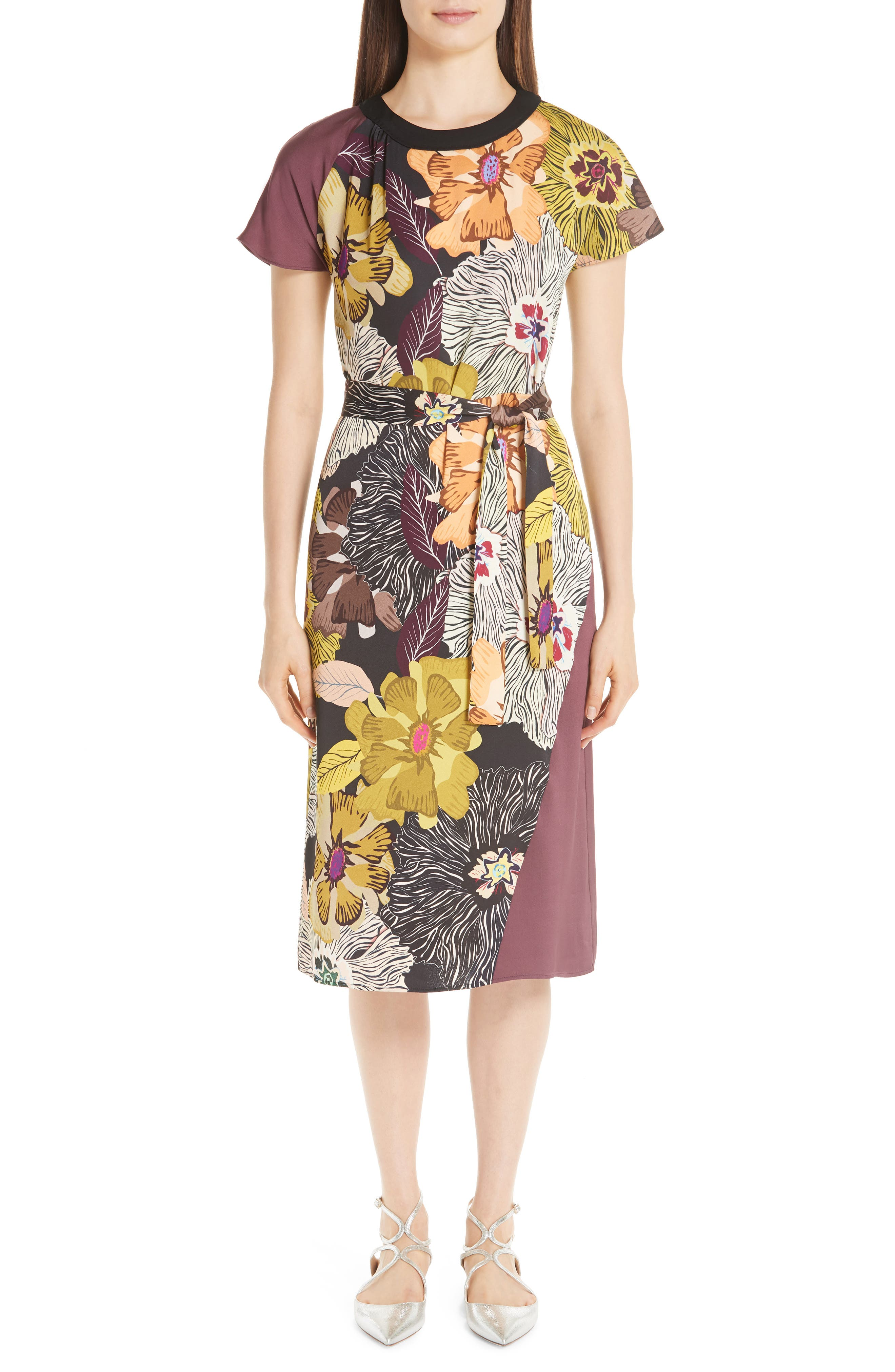 Etro Floral Print Belted Dress