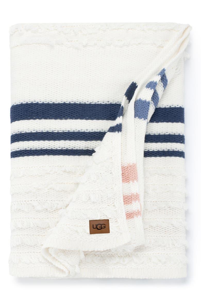 UGG<SUP>®</SUP> Solana Stripe Throw Blanket, Main, color, SNOW MULTI STRIPE