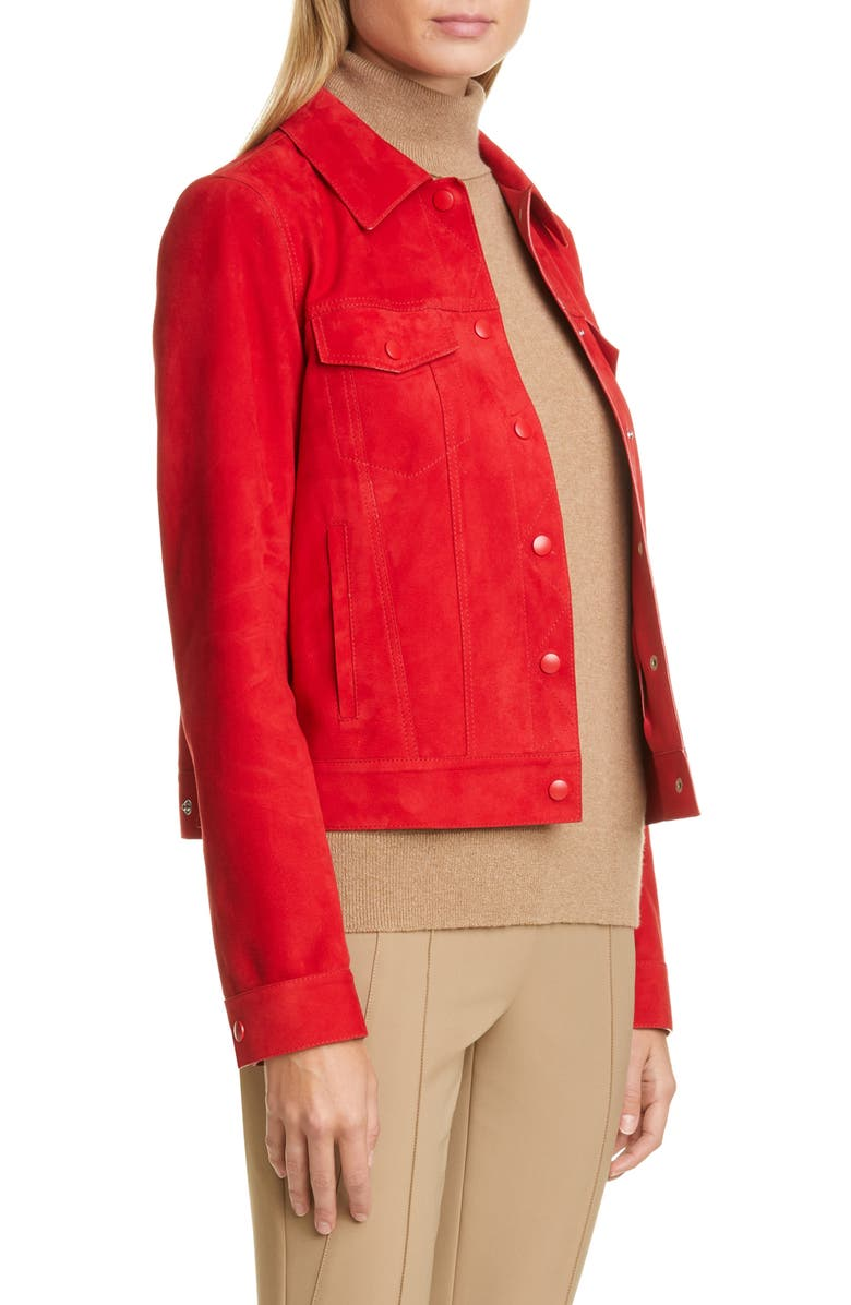 LAFAYETTE 148 NEW YORK Destiny Suede Jacket, Main, color, RED CURRANT