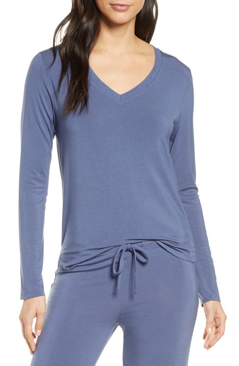 NORDSTROM Moonlight V-Neck Long Sleeve Pajama Top, Main, color, BLUE VINTAGE