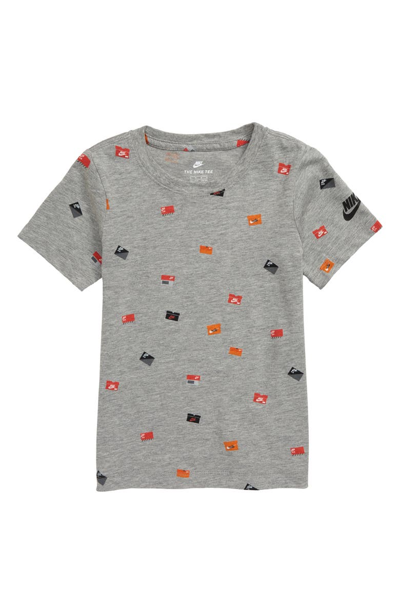 NIKE Allover Shoebox Graphic T-Shirt, Main, color, DARK GREY HEATHER
