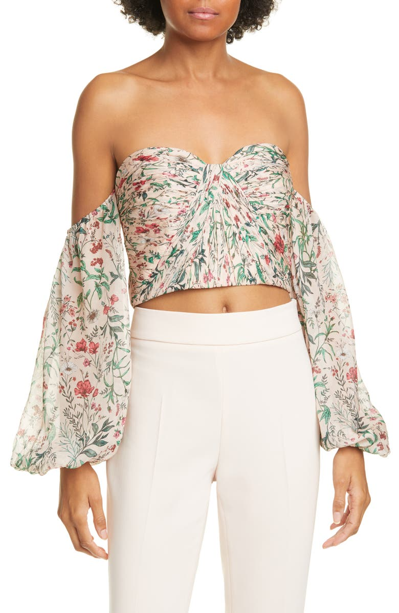 AMUR Helena Floral Off the Shoulder Silk Crop Top, Main, color, BLUSH MULTI WILDFLOWERS