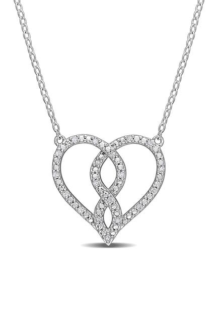 Image of Delmar Sterling Silver Pave Diamond Accent Heart Pendant Necklace - 0.10 ctw