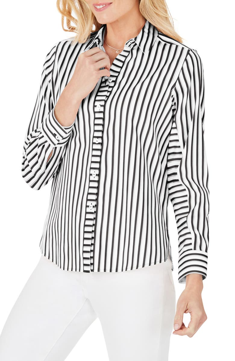 FOXCROFT Ava Essential Stripe Non-Iron Shirt, Main, color, BLACK