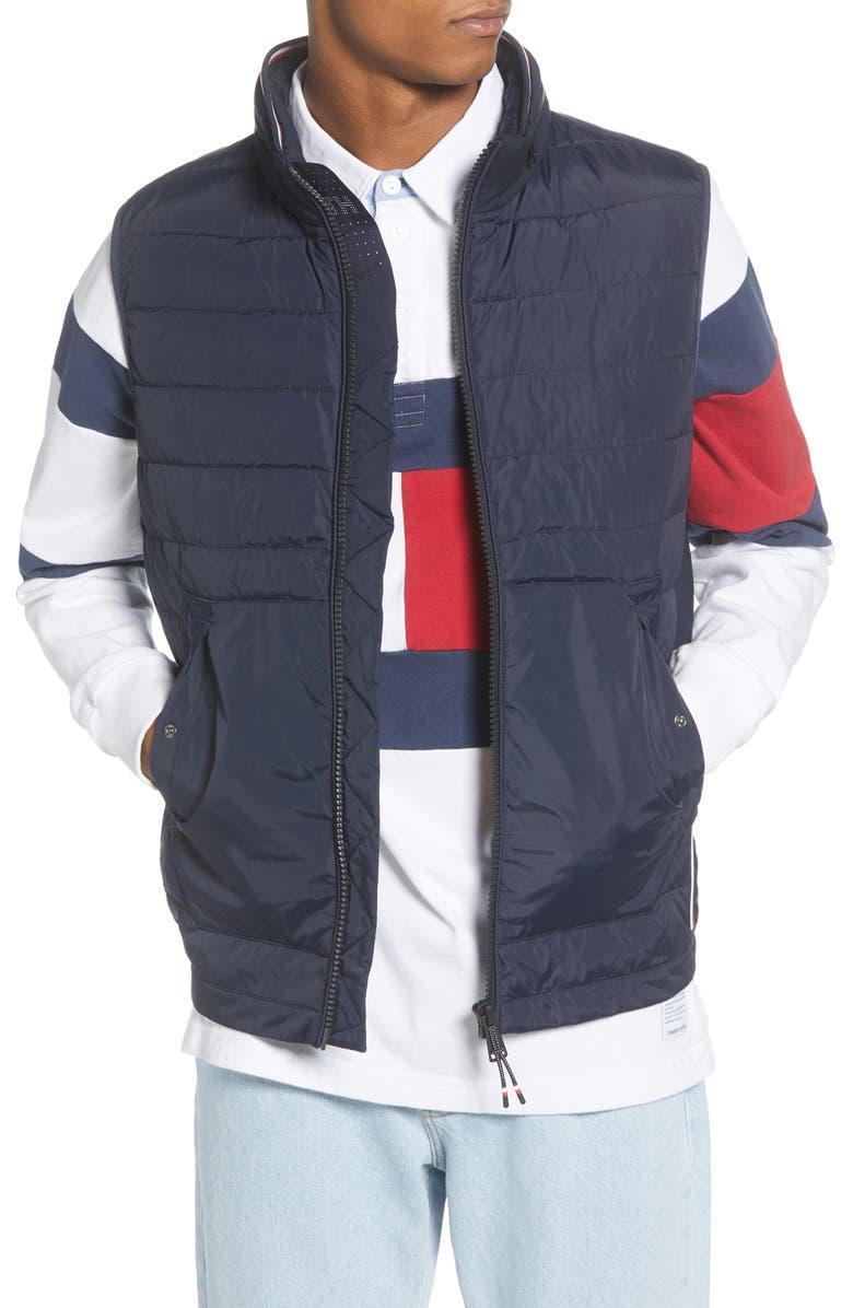 TOMMY HILFIGER Quilted Regular Fit Stretch Vest, Main, color, 400