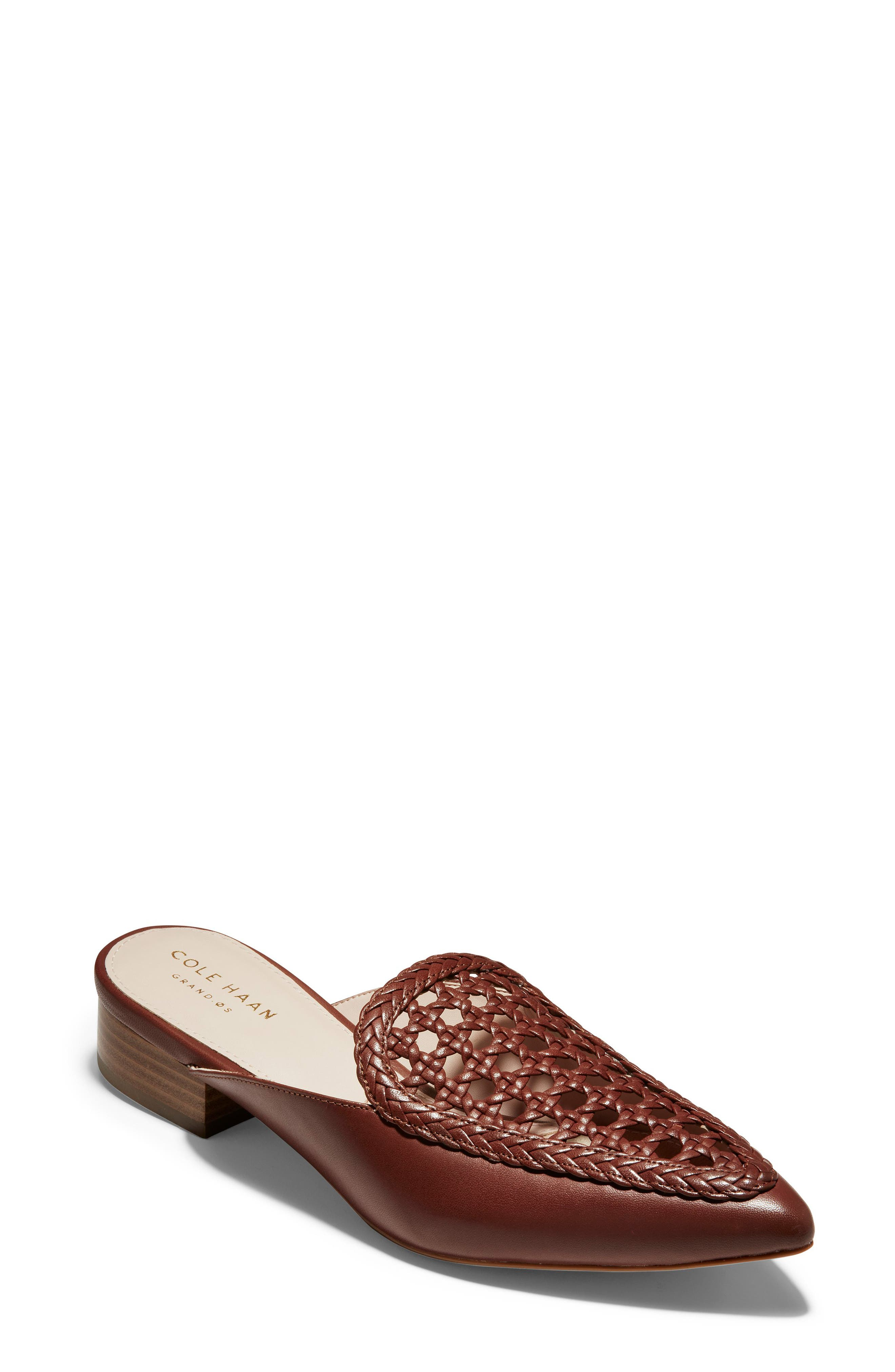 ,                             Payson Woven Mule,                             Main thumbnail 1, color,                             CHERRY MAHOGANY LEATHER
