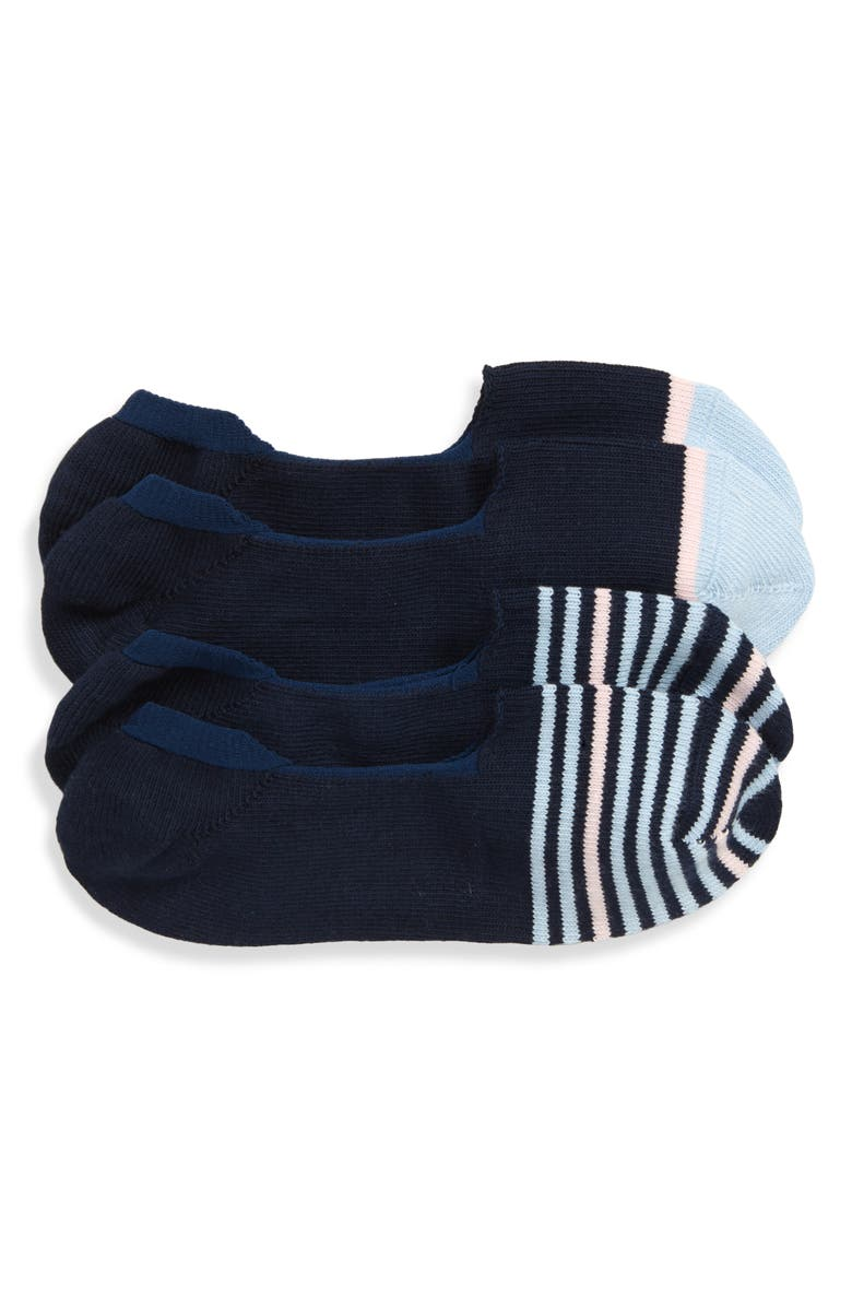 NORDSTROM MEN'S SHOP Assorted 2-Pack Loafer Liner Socks, Main, color, NAVY/ PINK