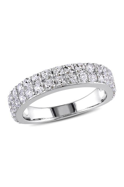 Image of Delmar Sterling Silver Pave Created White Sapphire Band