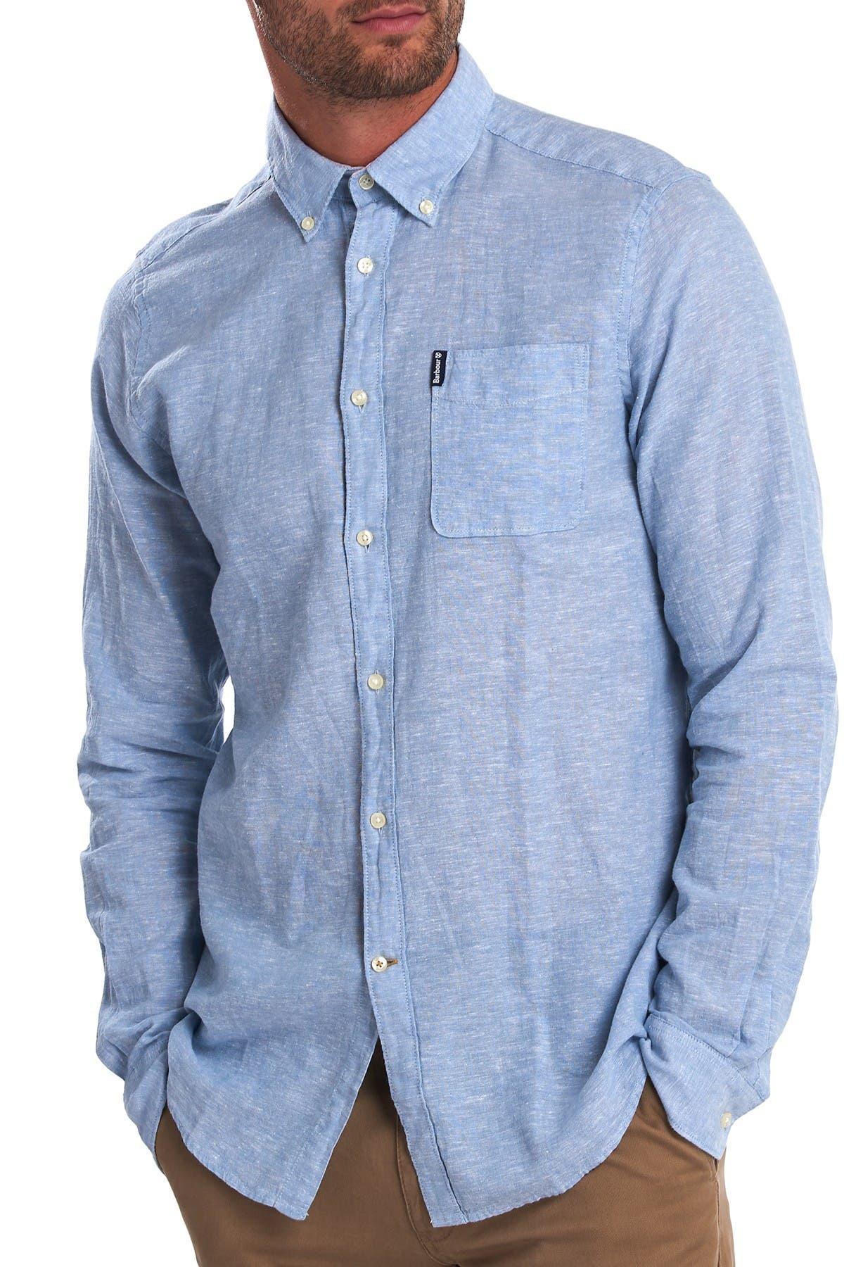 Image of Barbour Miltan Regular Fit Linen Blend Shirt