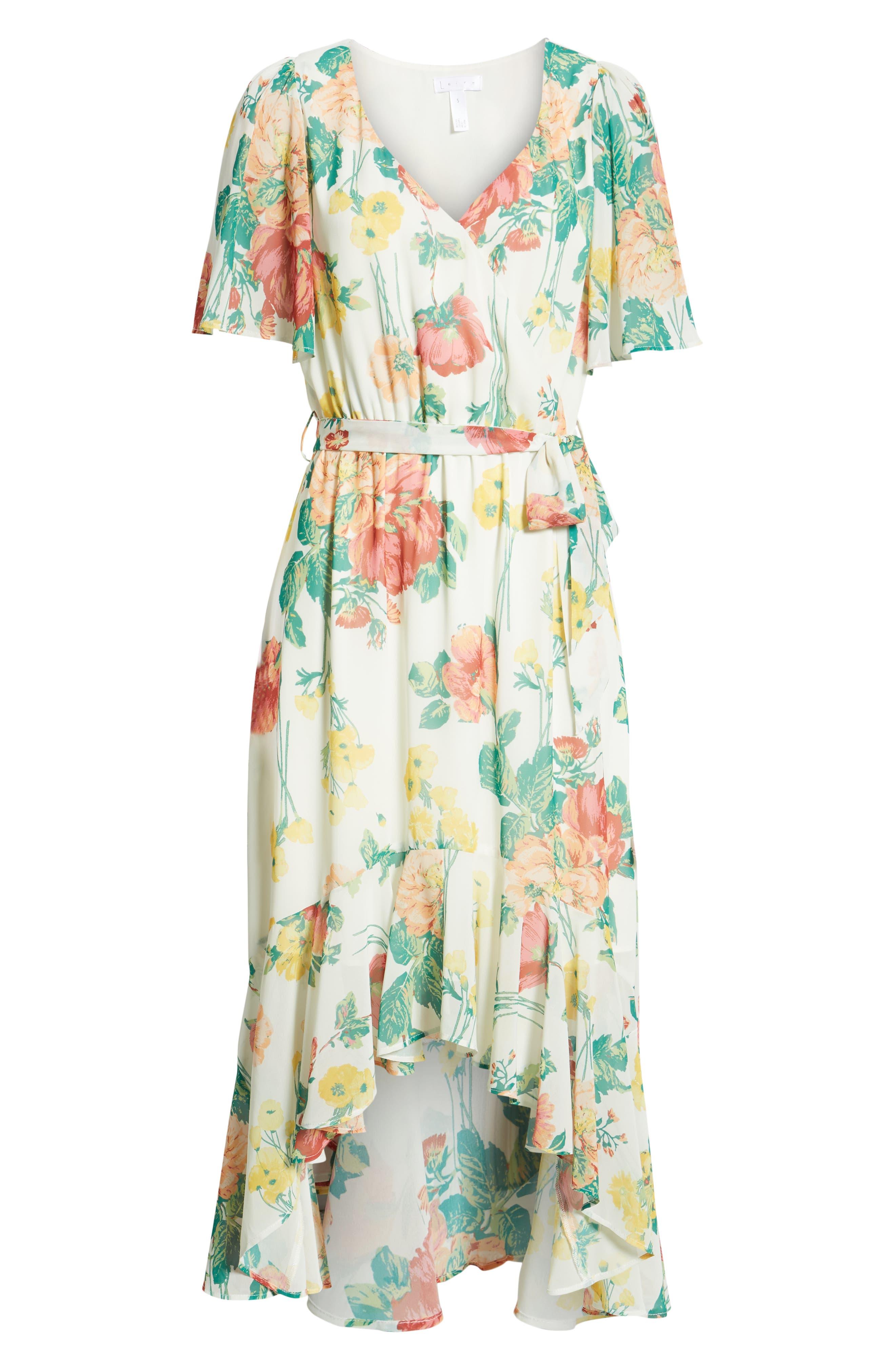 ,                             Flutter Sleeve High/Low Dress,                             Alternate thumbnail 7, color,                             IVORY BOLD ROSE