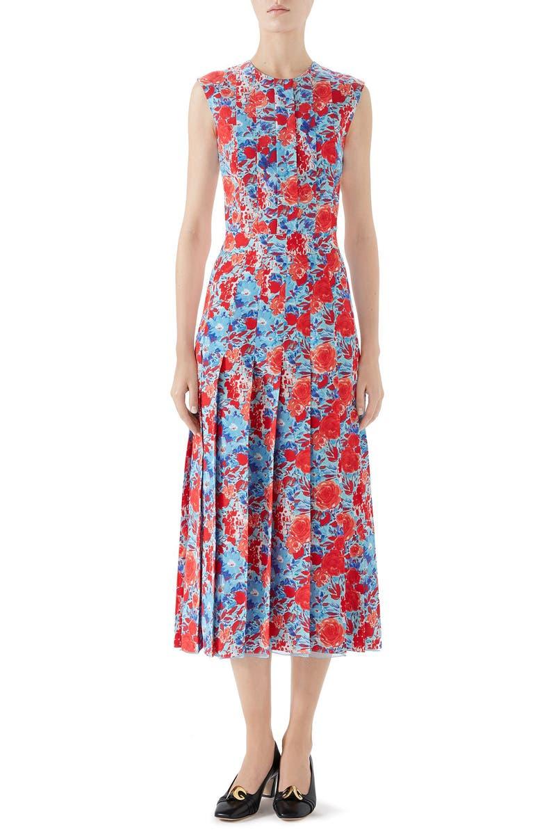 GUCCI Floral Print Pleated Silk Midi Dress, Main, color, CAROLINA/ FLAME PRINT